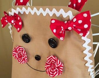 Ladies Full Ruffle Christmas Holiday Gingerbread Apron