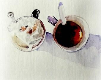 Cups of coffee. Original watercolor card.