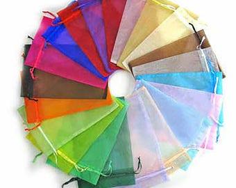 Set of 10 10 cm x 12cm aletatoires color Organza gift bag