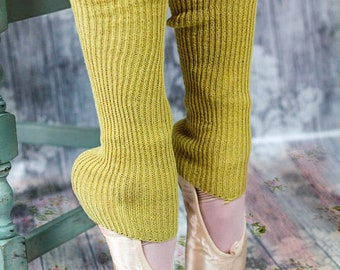 Chartreuse YELLOW Lamb's Wool DANCER'S Legwarmers - Stirrup Short Socks with open heel one size fits all - Ballet/Yoga/Pilates/Workout Socks