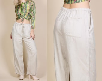 90s Linen Pants - Medium // Vintage Minimalist Straight Leg Flowy Trousers