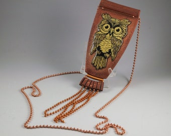 Woodland Owl Tassel Necklace - Long Copper Ball Chain Tassel Carved Ivory Transfer No. 193
