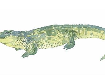 Alligator print, watercolor painting