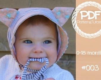 Baby Bonnet Pattern // Kitty Cat Hat Pattern // Brimmed Sun Bonnet // Kitty Ear Baby Bonnet // Cat Hat Pattern // Kitty Hat Pattern