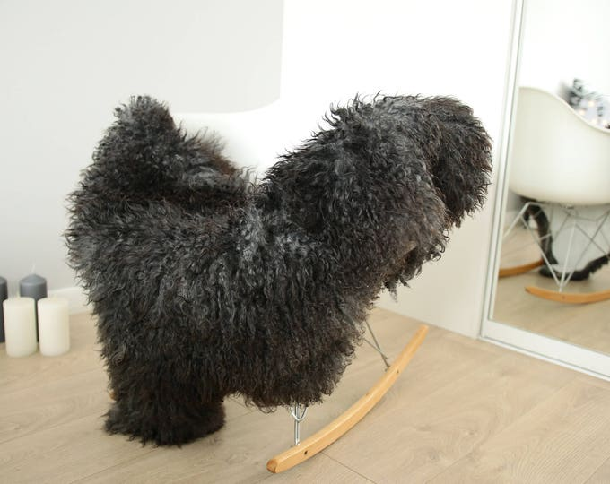 Genuine Rare Gotland Sheepskin Rug - Curly Fur Rug - Natural Sheepskin - Gray Black Sheepskin #FEBGOT3