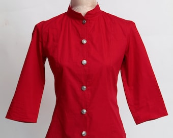 Nautical 3/4 sleeve blouse in navy, black, white or red with anchor button detail