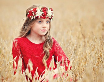 The Chloe - Red Lace Dress, Flower Girl Lace Dress, for girls, toddlers ages 1T, 2T,3T,4T,5T,6, 7, 8, 9/10, 11/12