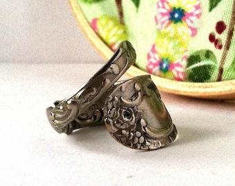Antique Spoon Wrap Ring, size 7, Floral