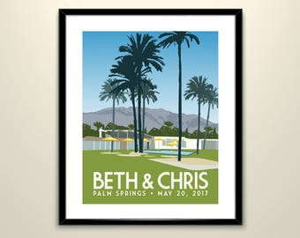 Palm Springs Wedding Landscape 11x14 Poster/Can personalize with Names and date (frame not included)