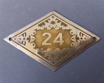 Home Number Sign #24 Personalized Bronze House Address Number Plaque Number Tag Vintage Metal Number Plate Decorative Number Sign