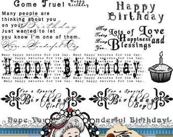 Birthday set 1 Word Art Sentiments Digital Stamps Digi Instant Download ID:NV-WA0001 By Nana Vic