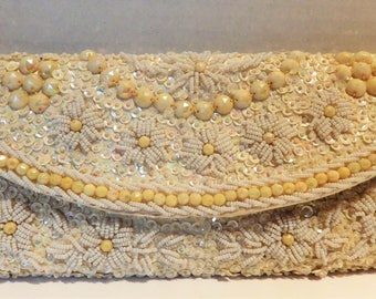 1960s Beaded Evening Bag Clutch White Satin Seed Pearls Bakelite Beads Hong Kong