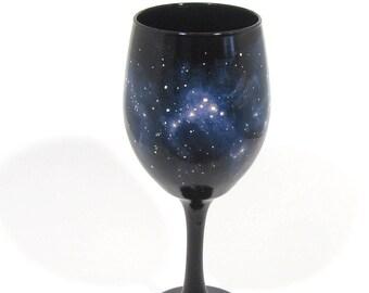 Galaxy Wine Glass -  Hand Painted Wine Glass - Blue Nebula Wine Glass