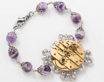 Steampunk Bracelet with Vintage Gold Pocket Watch on Silver Filigree, Leaf & Flower Motif, Genuine Amethyst, Womens Gift, Steampunk Jewelry