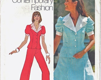Simplicity 5472 Woman's Button-Front Top, Six Gore Mini Skirt, Cuffed Straight Pants Sewing Pattern Size 10 Vintage 1970's