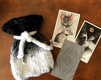 Black and White Gradient Knitted Tarot Bag