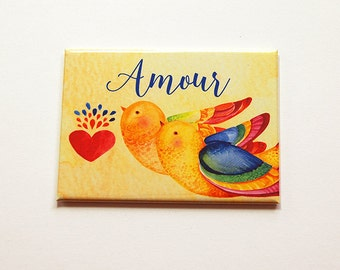 Amour Magnet, Love Birds, Magnet, Fridge magnet, Kitchen magnet, humor, ACEO magnet, Love birds magnet, Love, Amour, yellow (5887)