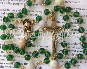 Green Emerald Czech glass and Moss Marble bead rosary with gold plated Madonna & Child center and crucifix