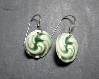Ceramic Earring Swirl Button Porcelain Earrings In Green With Sterling Silver Earwires