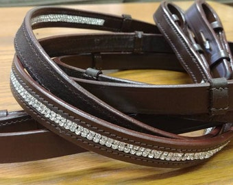 Double Rhinestone Leather Sparkle Reins|Dressage|Eventing|Jumpers