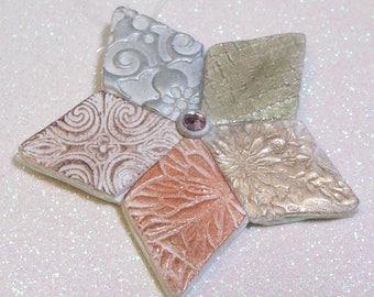 Metallic Star Christmas holiday ornament: polymer clay ornament