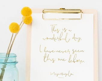 Gratitude Maya Angelou Wonderful Day Quote Printable Wall Art Decor   Instant Download   New Beginning Minimalist Decor Gold Foil Effect