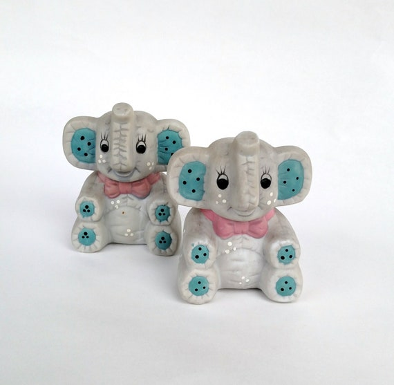 Vintage 1980's Elephant Salt and Pepper Shakers