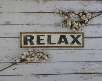 Relax Sign, Relax Wood Sign, Spa Decor, Vertical Wood Sign, Bathroom Sign, Bedroom Sign, Distressed Wood Sign