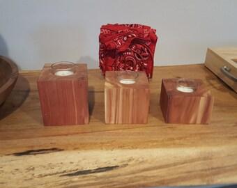 Candle holder set of cedar