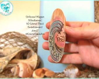 Beach Wave Magnet, Driftwood Pyrography Magnet #DWM17