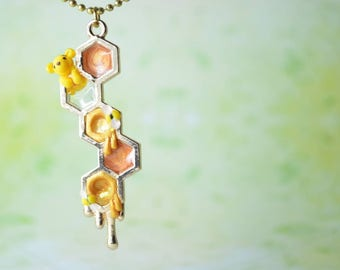 Disney Inspired Winnie the Pooh Honeycomb Necklace