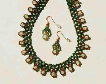 Emerald Green AB and Copper Glass Seed Bead Necklace With Green Opal Accents and Matching Earrings