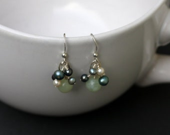 Jade & Freshwater Pearls with Sterling Silver Ear Wires