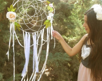 Wedding dreamcatcher wreath, Apricot Bohemian boho style wedding decorations.
