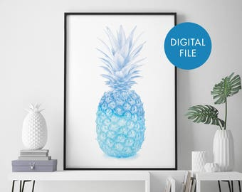 Blue Pineapple Watercolour Print Wall Art | Print At Home | Digital Download File