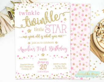 Twinkle Twinkle Little Star Birthday Invitation, First Birthday Invite, Little Star Birthday Invite, 1st Birthday, Pink and Gold, Girl First