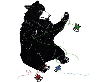 ThreadBear (original woodblock print)