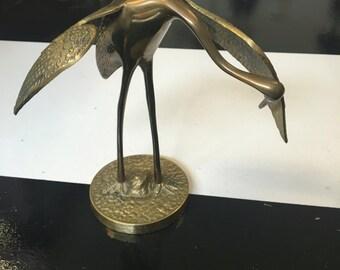Vintage, Brass, Crane, Statue