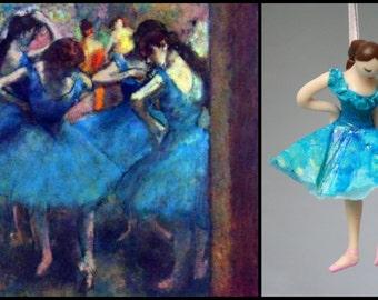 Degas Blue Ballerina Ornament Hand Sculpted in Clay