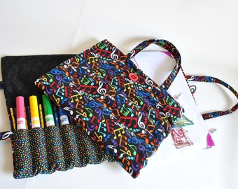 Art Caddie-Art On the Go-Travel Art Book-Travel Activity-Art Portfolio-Child Art Case-Marker Holder-Sketch Pad-Music Notes-Art-Musician Gift