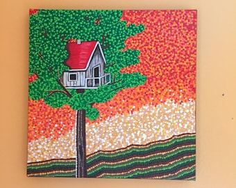 Original Tree House Dotty Acrylic Painting on Canvas