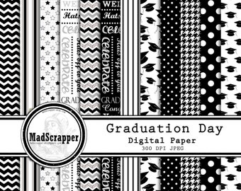 Digital Scrapbook Paper Graduation Day Black and White 12 Patterns 4 Solids 12 x 12 BONUS Clipart Instant Download