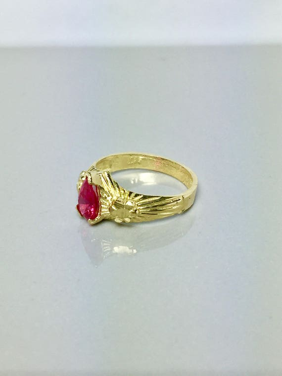 10k Solid Gold Baby Ring Baby Ruby Ring Kids Ruby Ring
