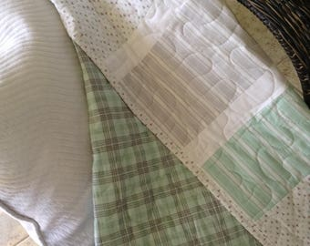 "Crib Quilt - Gender Neutral (Mint Green/Grey/White) 38"" x 49"" - Contemporary/Modern - Ready to Ship"