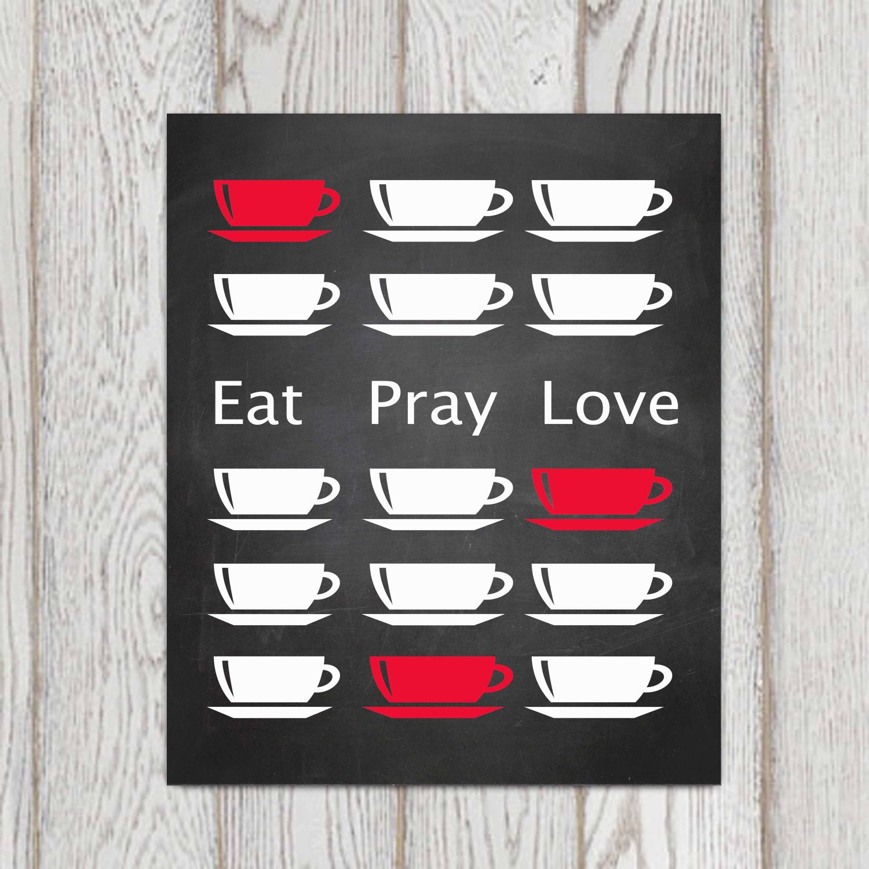 Kitchen Art Red: Eat Pray Love Printable Red Kitchen Wall Art Red Kitchen Decor