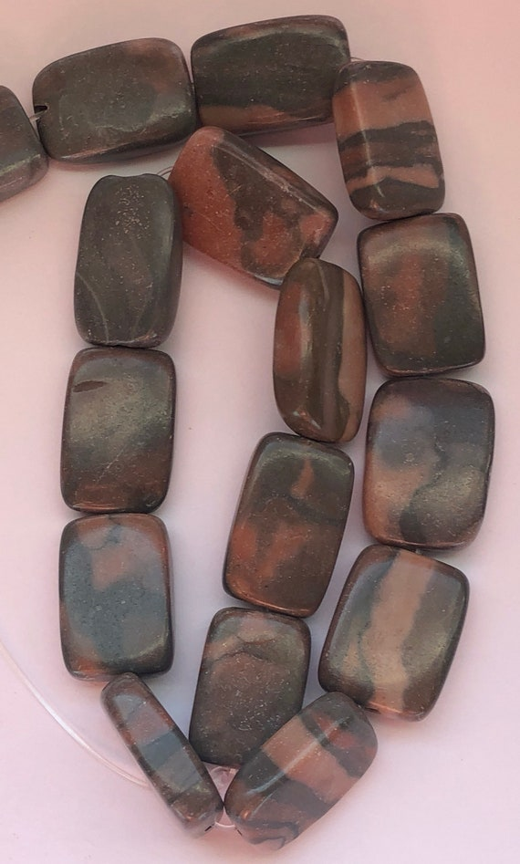 """One Strand of Canyon Marble Beads, 15"""", 21 Pieces, Pink and Gray Colors, Canyon Marble, Treated Gemstone, Large Size, 19mm, Rectangle Shape"""