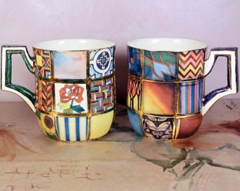 "Handmade Porcelain Cup, Ceramic Mug, Porcelain cup ""Patchwork"""