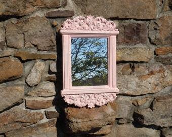 10 - Ornate  Mirror - Syroco -Pale Pink - Distressed -Nursery -Girls room- Wall Decor