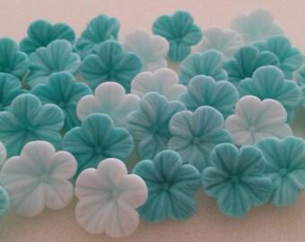 30 Edible Sugar Paste Aqua Petunia Flowers Birthday Wedding Anniversary Party Cake Cupcake Toppers