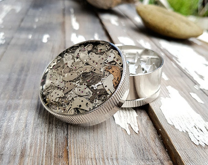 Featured listing image: Metal Herb Grinder -Steampunk Cybermetal Spice Crusher -